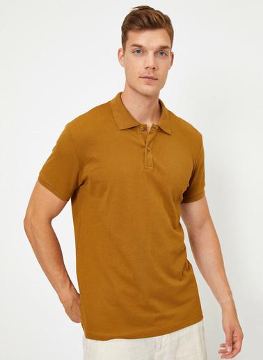 Koton Polo Yaka Kisa Kollu Slim Fit Basic T-Shirt Kahve